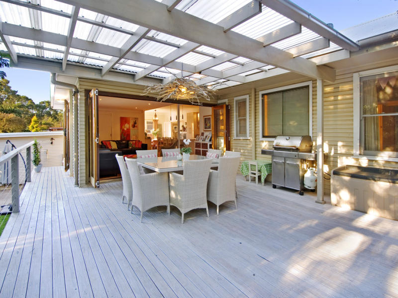 Outdoor living design with balcony from a real australian Outdoor living areas images