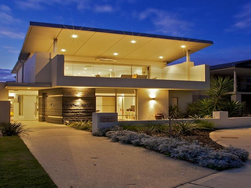 modern house exterior with balcony decorative lighting house