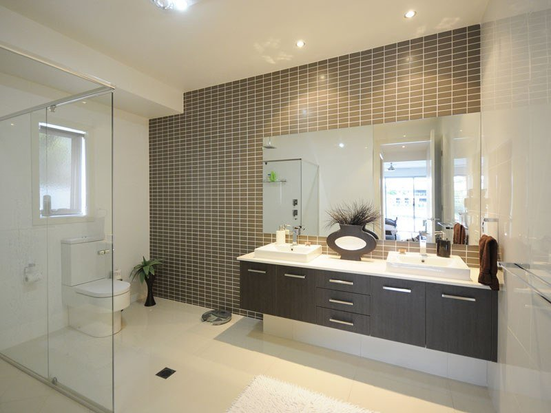 modern bathroom design with built in shelving using ceramic bathroom