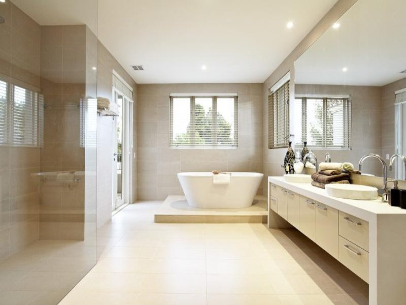 Modern bathroom design with freestanding bath using for Faience salle de bain nature