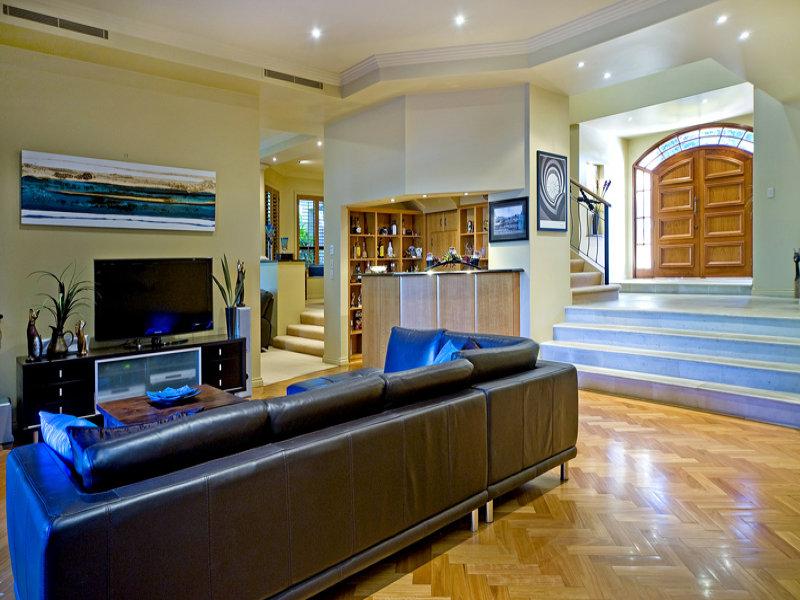 Split Level Living Room Using Cream Colours With
