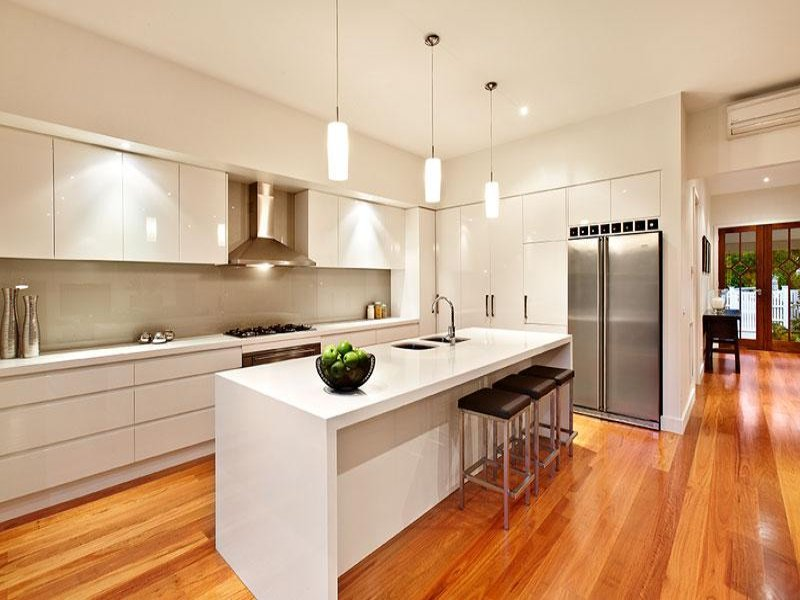 Modern island kitchen design using hardwood kitchen for Kitchen ideas no island