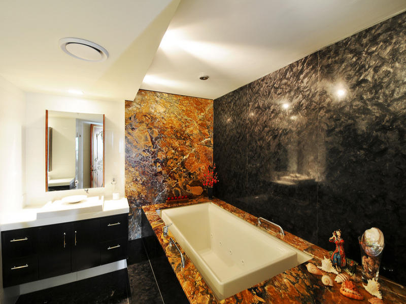 Asian Inspired Bathroom Design With Recessed Bath Using Marble Bathroom Photo 347984