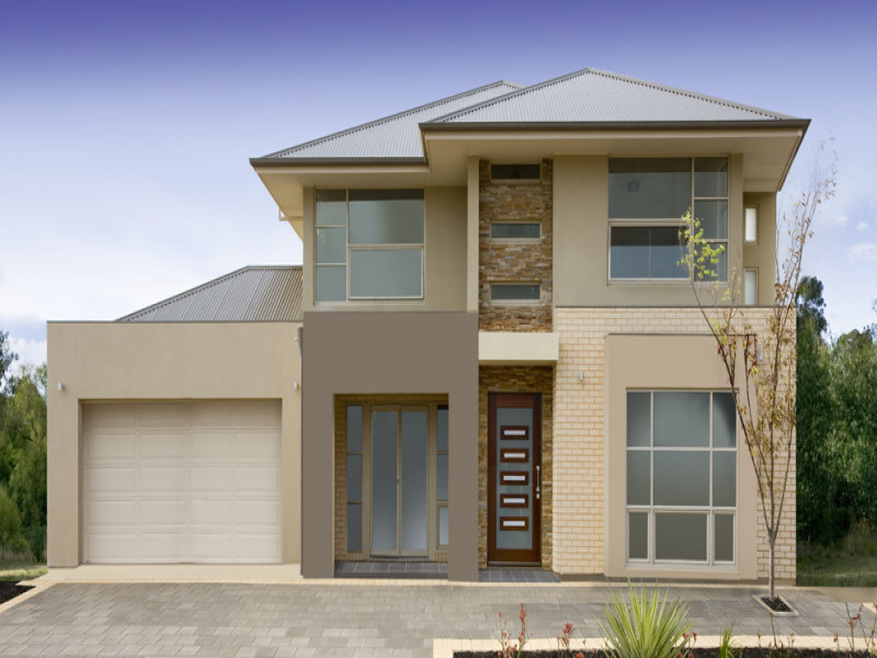 Photo of a brick house exterior from real australian home for Facade couleur taupe