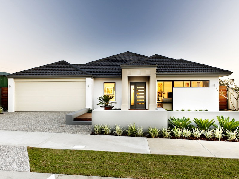 photo of a concrete house exterior from real australian home house front house design single story
