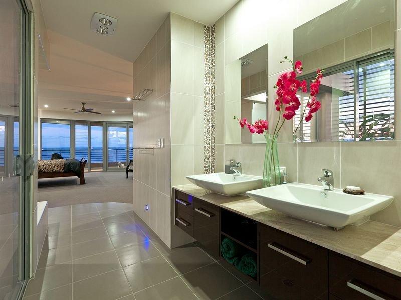 Modern bathroom ideas - Modern Bathroom Design With Twin Basins Using Ceramic Bathroom Photo