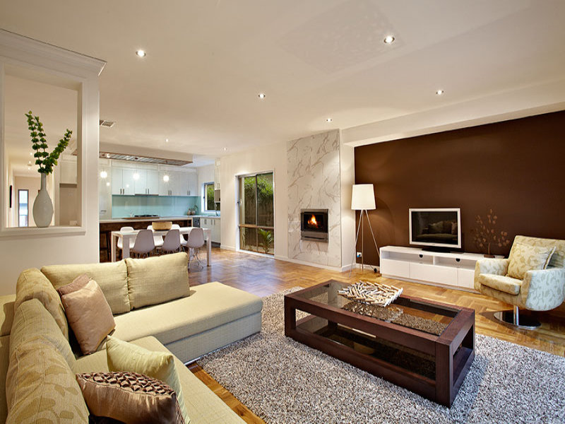 Brown living room idea from a real australian home for Latest lounge designs