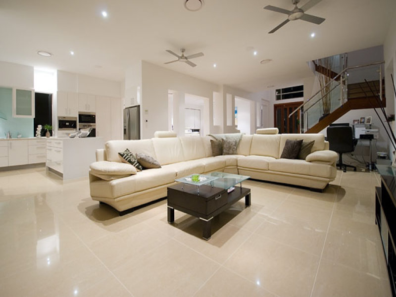 Open Plan Living Room Using Black Colours With Tiles Staircase Living Area Photo 331445
