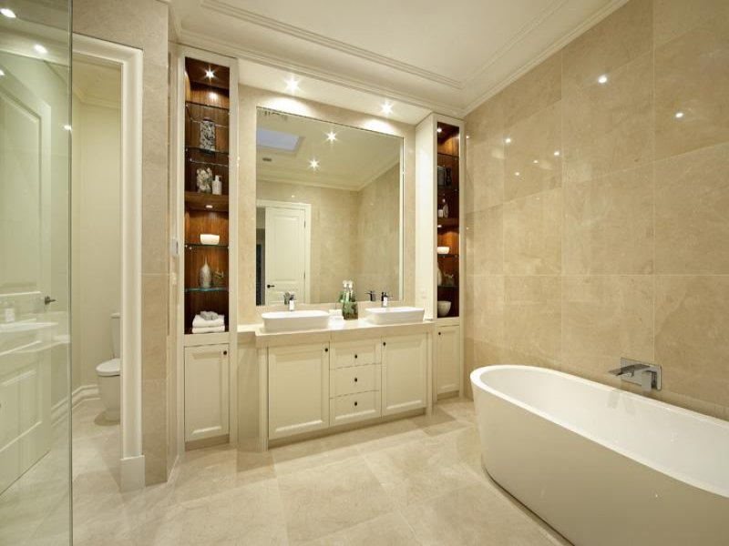 Marble in a bathroom design from an australian home for Show home bathrooms