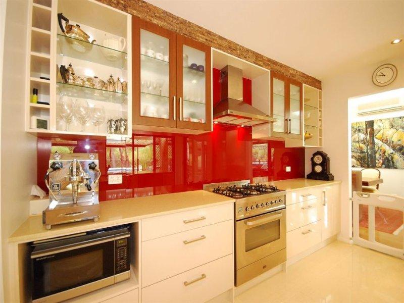single-line kitchen design using stainless steel - kitchen photo