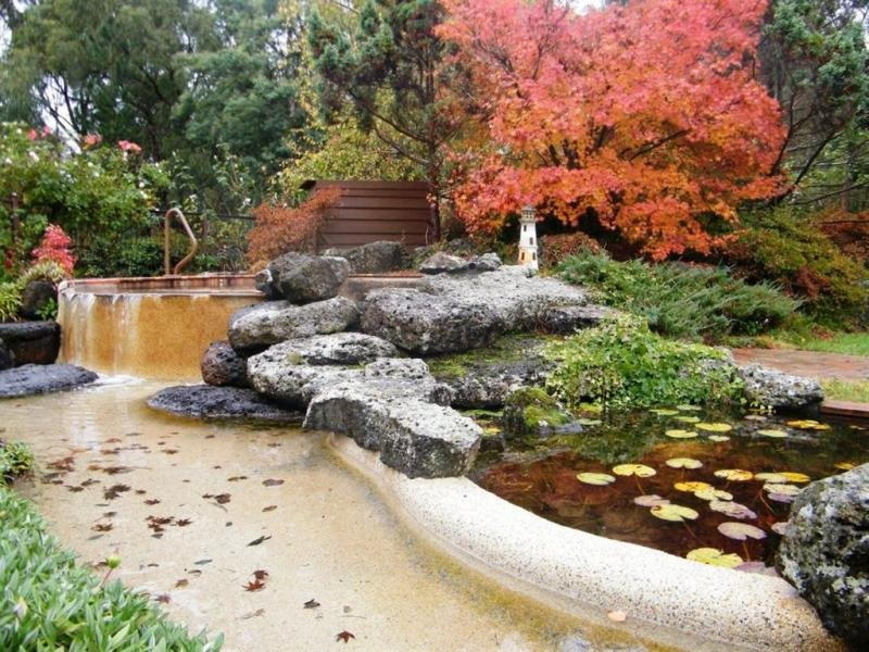 ... Garden Design With Landscaped Garden Design Using Grass With Fish Pond  Uamp Rockery With Landscape Small