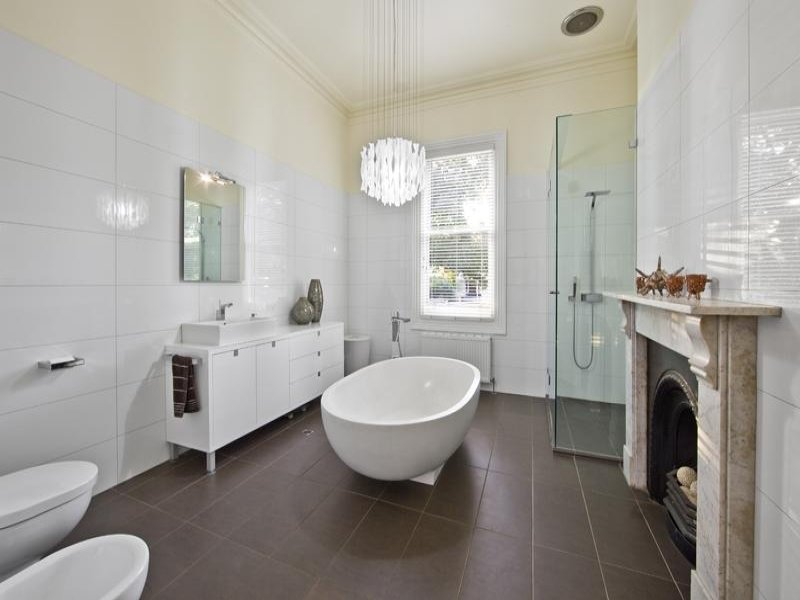 Classic bathroom design with freestanding bath using for Bathroom design photos
